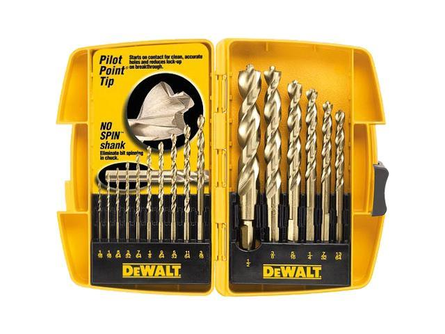 B & D DEWALT POWER TOOLS 16 Piece Set Pilot Point® Drill Bits