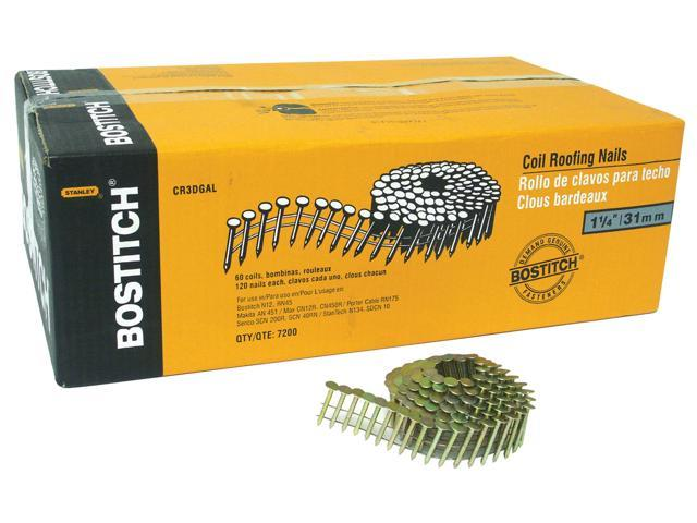 """Bostitch Stanley CR2DGAL 7,200 Count 1"""" Galvanized 15° Wire Collated Roofing Nails"""