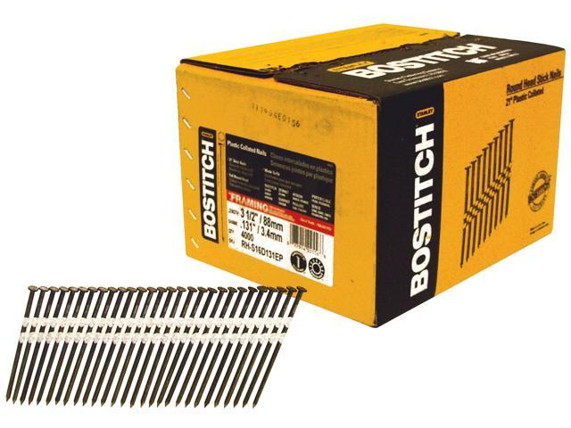 "Bostitch Stanley RH-S16D131EP 5,000 Count 3-1/2"" 16d Plain Shank Stick Nails"
