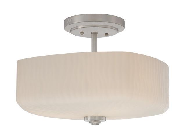 Quoizel Brushed Nickel Brushed Nickel & Glass Medium Semi Flush Mount