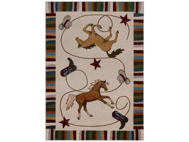 "Shaw Living Kathy Ireland Home Young Attitudes Durango Ranch Area Rug Khaki 5' 5"" x 7' 9"" 3P18212100"