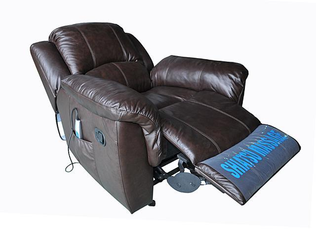 Turnda Espresso Leather Glider Recliner with Heat and Vibrate Massage