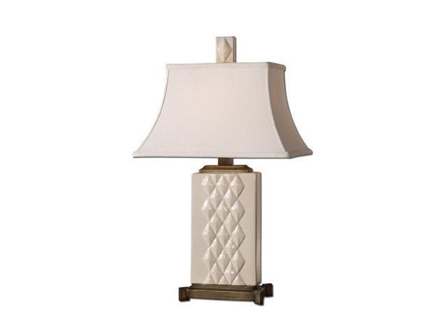 Uttermost Matthew Williams Alberoni Table Lamp Glossy Ivory Ceramic Base with Heavily Burnished Silver Champagne Details.