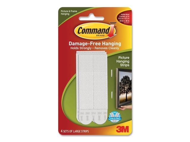 3M Command 17206 Large Picture Hanging Strips, White, 4 Sets of Strips