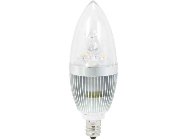HitLights LED_CLWW3WE12 25 Watt Equivalent 3 Watt Warm White Candelabra LED Light Bulb, E12 Base