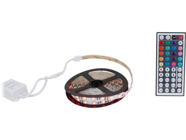 HitLights RGB Multicolor Changing SMD5050 High Density LED Light Strip Kit - 300 LEDs, 16.4 Ft Roll, Cut to Length, Includes 60W Adapter and 44 Key Controller - Color Changing, 314 Lumens per foot