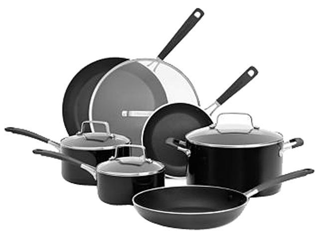Kitchenaid aluminum nonstick 10 piece cookware set black kc2as10q6ob - Kitchen aid pan set ...