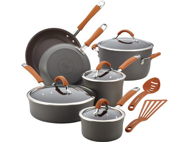 Rachael Ray Cucina Hard-Anodized Nonstick 12-Piece Cookware Set in Gray with Pumpkin Orange Handle