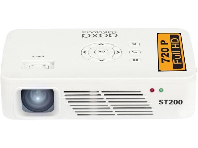 AAXA ST200 White Short Throw LED Pico Projector,  1280 x 720, 2000:1, 150 cd/m2, HDMI&Mini-VGA&USB, Built-in Speaker