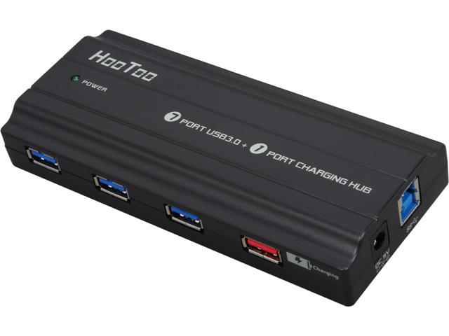 HooToo HT-UH004 SuperSpeed USB 3.0 7-Port  Hub + 1-Port 5V/2A Charging Port, Include 5V/4A Power adapter and USB 3.0 Cable