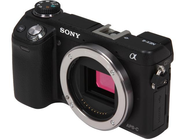 Sony NEX-6/B 16.1 MP Compact Interchangeable Lens Digital Camera with 3-Inch LED - Body Only (Black)