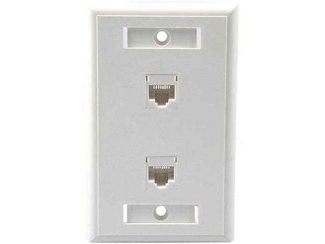 C2G 27416 Two Port Cat5E RJ45 Configured Single Gang Wall Plate - White