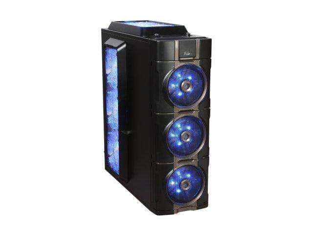 XCLIO 777 Black/Titanium Finish Chassis: 1.0 mm SECC;  ABS Plastic ATX Full Tower Extreme Cooling PC Case