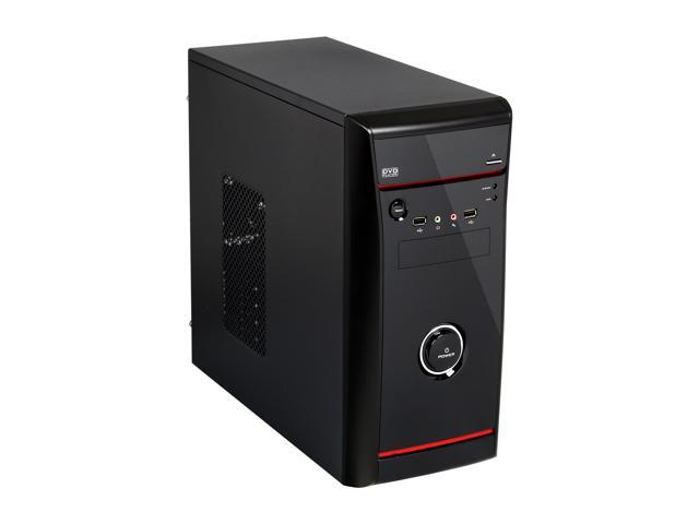 HEC Vigilance Black 0.5 mm Thickness SGCC MicroATX Mini Tower Computer Case with Dual 8cm Fan, 2x USB2.0 and HD Audio