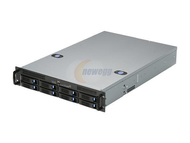 Chenbro Case RM21508B (RM21508T2-T) 2U DP, with 8 x H/S HDDs, SAS/SATA BP, Zippy Redundant Power Supply 500W (PS-R2W-6500P-T), Ideal for Networking Storage Server