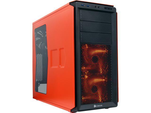 Corsair Graphite Series 230T CC-9011038-WW Orange on Black with ORANGE LED fans ATX Mid Tower Computer Case