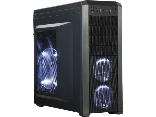 Corsair Carbide Series CC-9011012-WW/RF Black Steel structure with molded ABS plastic accent pieces ATX Mid Tower Computer Case Factory Refurbished