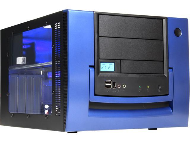 APEVIA X-QPACK-BL/420 Black/Blue Aluminum MicroATX Desktop Computer Case 420W Power Supply
