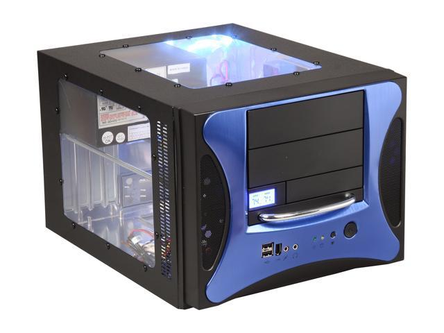 APEVIA X-QPACK2-BL/500 Black/ Blue Aluminum Body/ Front Mask Micro ATX Desktop Computer Case 500W Power Supply
