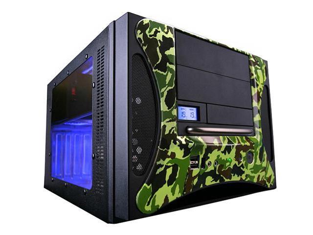APEVIA X-QPACK2-CM/500 Black/Camouflager Aluminum Body/ Front Mask MicroATX Desktop Computer Case 500W w/120m UV Blue Fan Power Supply