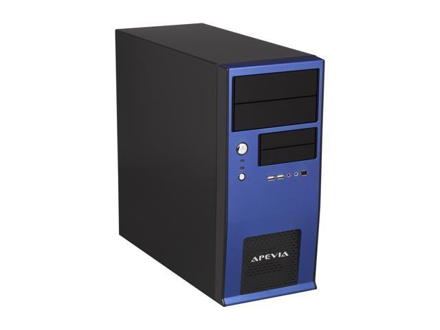 APEVIA X-QBOII X-QBOII-BL/500 Black / Blue SECC Steel MicroATX Mini Tower Computer Case 500W Power Supply