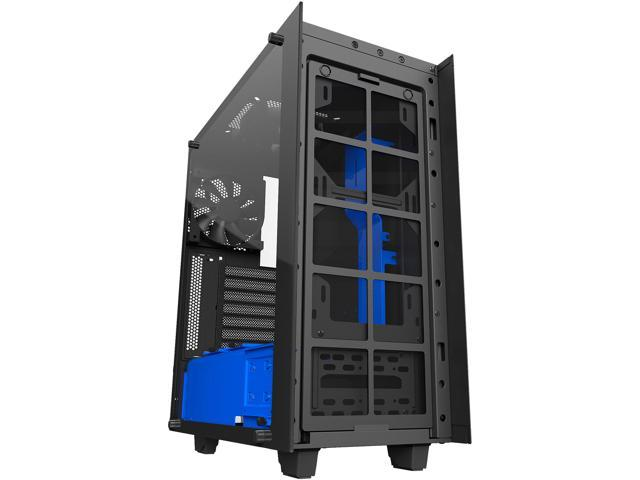 NZXT S340 Elite CA-S340W-B5 Black / Blue Tempered glass side panel,