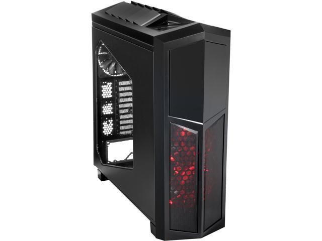 Rosewill THRONE-Window-A Black Gaming ATX Full Tower Computer Case, support up to E-ATX/XL-ATX, come with Five Fans-2x Front Red LED 140mm Fan, 2x Top 140mm Fan, 1x Rear 140mm Fan