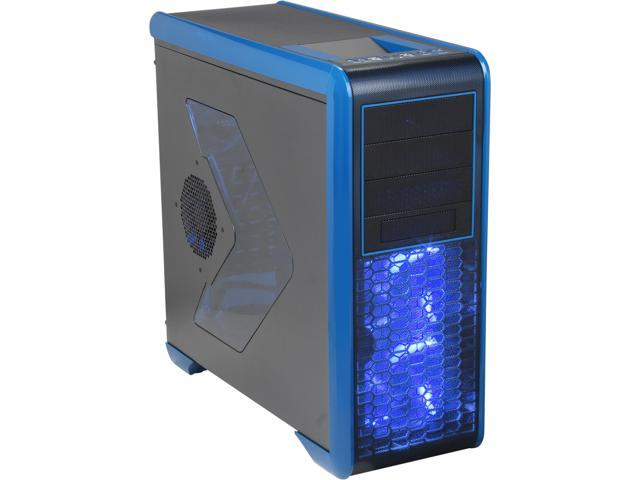 Rosewill BLACKHAWK - Gaming ATX Mid Tower Computer Case, Blue Edition - Five Fans Included, Side Window Panel, Top HDD Dock