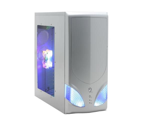 LOGISYS Computer Area 51 CS51WSL Silver Steel ATX Mid Tower Computer Case 480W Power Supply