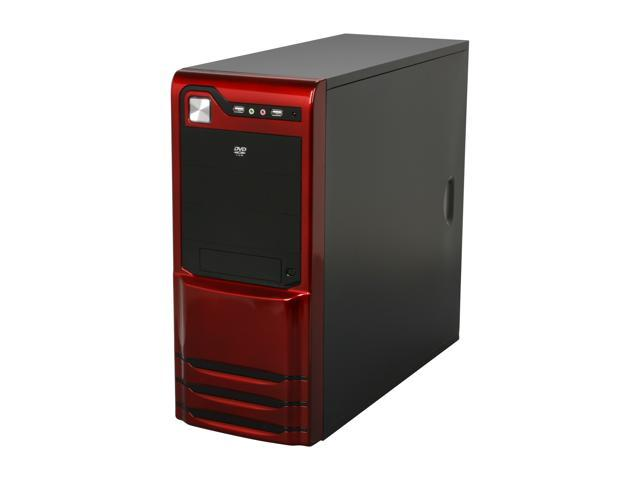 LOGISYS Computer CS308RD Red / Black Steel / Plastic ATX Mid Tower Computer Case 480W Power Supply