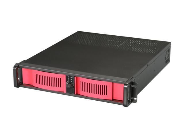 iStarUSA D-200-RD-2U35PD8-RC Black Aluminum / Steel 2U Rackmount High Performance Chassis w/ PCI Riser Card and 350W Server PSU -Red Bezel