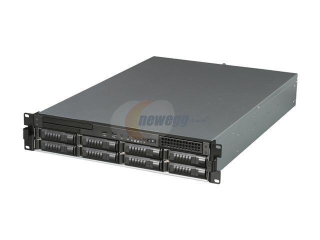 iStarUSA E2M8-50S2 Black 2U Rackmount 8-Bay Storage Server Chassis