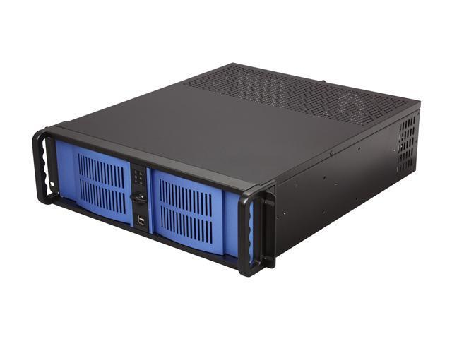iStarUSA D-300-FS-BL-50P8 Black Aluminum / Steel 3U Rackmount Compact Stylish Chassis Front-mounted 500W Power Supply -Blue Bezel