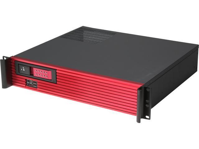 iStarUSA D213MATX-DE1RD-RD 2U Rackmount Compact Trayless Server Case - Red Bezel