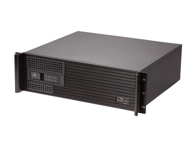 iStarUSA D313SEMATX-DE1BK Aluminum / Steel 3U Rackmount Compact Trayless Server Case - Black Bezel