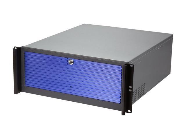 iStarUSA D416-3DE1BL-BL Black Aluminum / Steel 4U Rackmount Compact Stylish Server Case - Blue Front Bezel