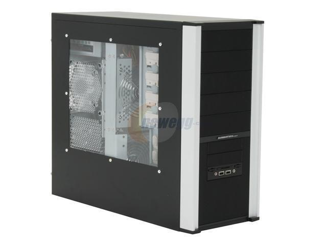 Sunbeam 3D Storm IC-3DS-US-SVBK Silver/ Black Steel ATX Mid Tower Computer Case 450W Power Supply