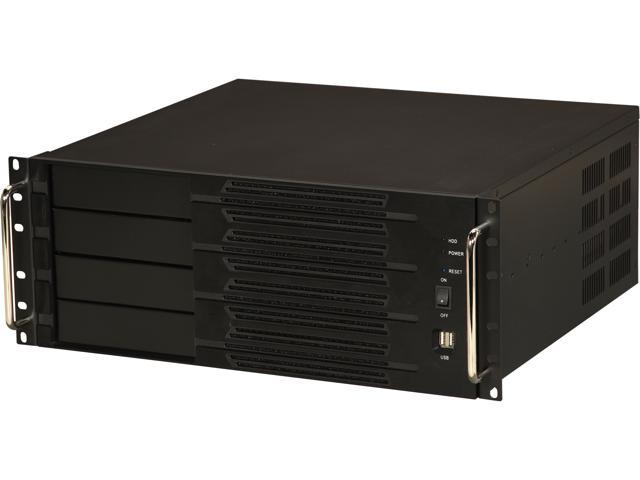 Athena Power RM-4U400S60 Black Aluminum Front Panel and 1.2mm Steel 4U Rackmount Server Case