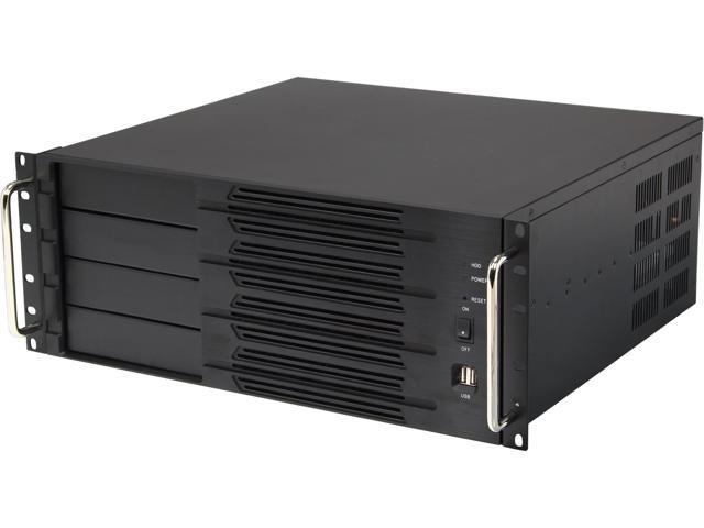 Athena Power RM-4U400SR508 Black Aluminum Front Panel and 1.2mm Steel 4U Rackmount Server Case