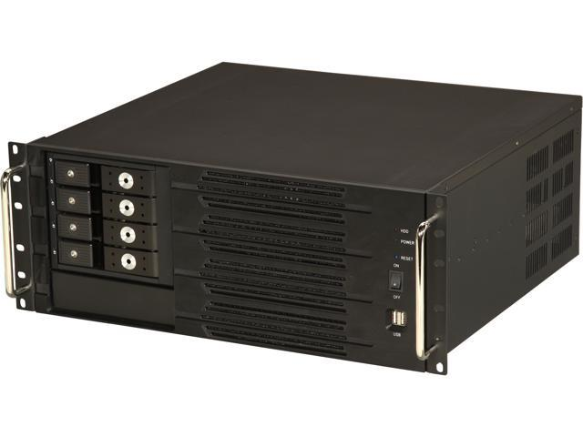 Athena Power RM-4U400SH34TLA Black Aluminum Front Panel and 1.2mm Steel 4U Rackmount Server Case