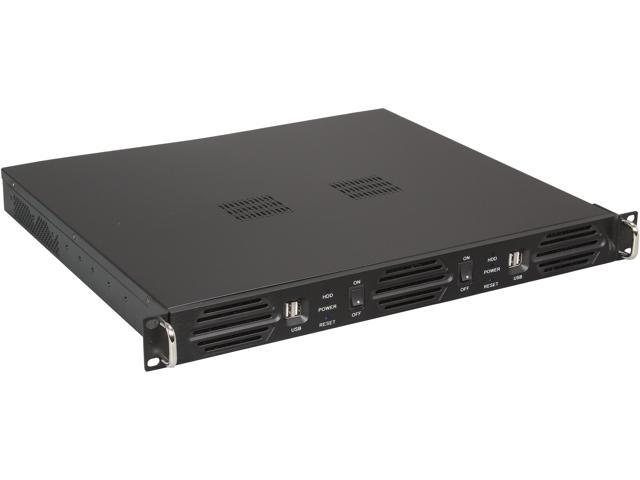 Athena Power RM-1U100DD308 Black Aluminum Front Panel and 1.2mm Steel 1U Rackmount Server Case