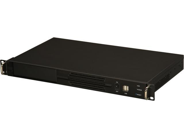 Athena Power RM-1U100DR358 Black Aluminum Front Panel and 1.2mm Steel 1U Rackmount Server Case