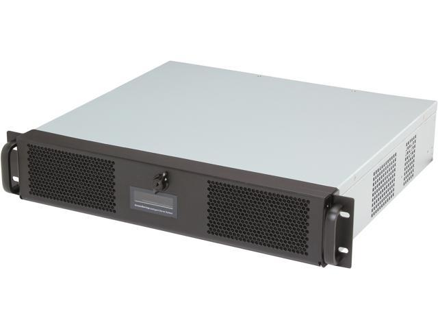 Athena Power RM-2U2052S408 Black SECC 1.2mm-2.0mm 2U Rackmount Server Case 2 External 5.25