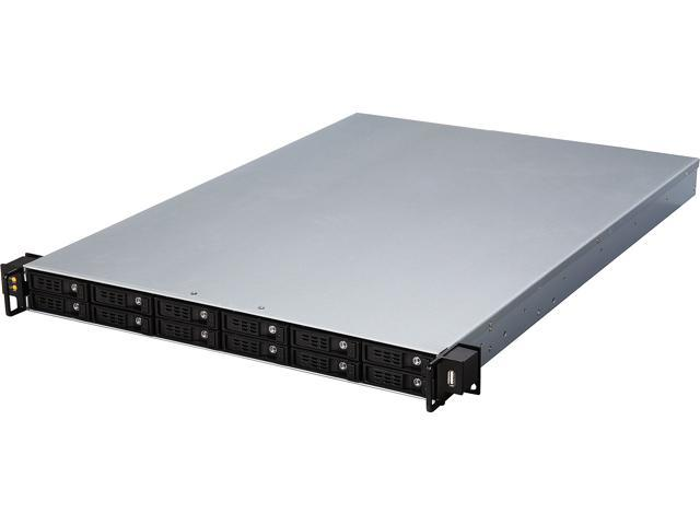 Athena Power RM-1U1122HE12 12Gb/s 1U Hot-Swap 12-Bay E-ATX Rackmount Server Chassis w/ 12Gbps Mini-SAS Backplane Supports 12 x 2.5