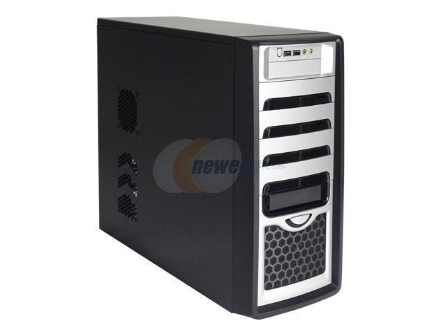 ASYS CK-1026-9B Black/Silver Steel ATX Mid Tower Computer Case