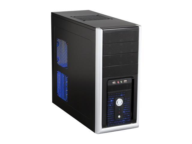 XION XON-160P Black with Blue LED Light Steel ATX Mid Tower Computer Case 500W Power Supply