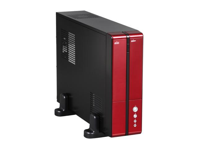 XION XON-710P_RD Black with Glossy Red Front Bazel Steel Micro ATX / Mini ITX Slim Desktop Computer Case 300W Power Supply