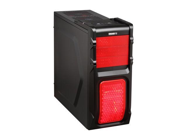 GIGABYTE Luxo M10 GZ-ZLM10RS Red Plastic / 0.5mm Steel ATX Mid Tower Computer Case