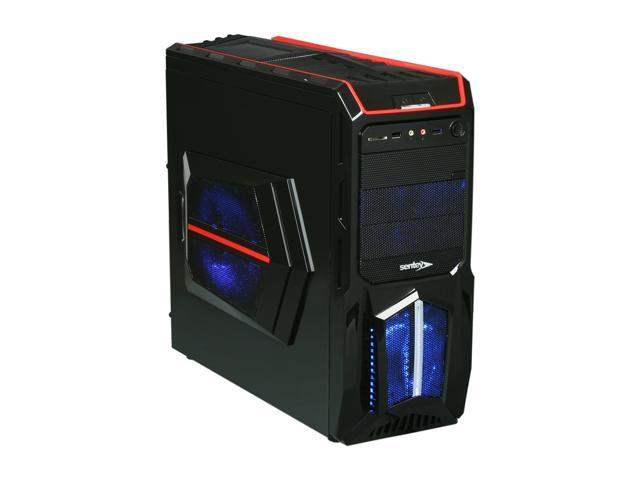 Sentey Optimus Extreme Division Tower Case - RED 3 x LED FAN / 1 120mm Rear FAN /2 x USB / Card Rdr / Fan Control /4 x Removable Bays / Screwless