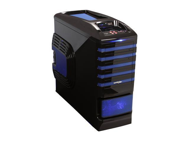Sentey Burton Series GS-6500B Black / Blue 1mm SECC / Plastic ATX Full Tower Computer Case